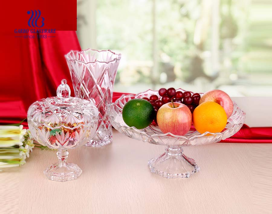 12pcs clear glass bowl and plate dinner glassware set