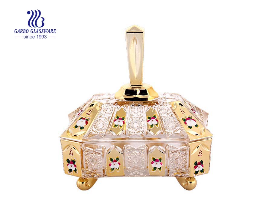 Golden Decaled Glass Candy Jar