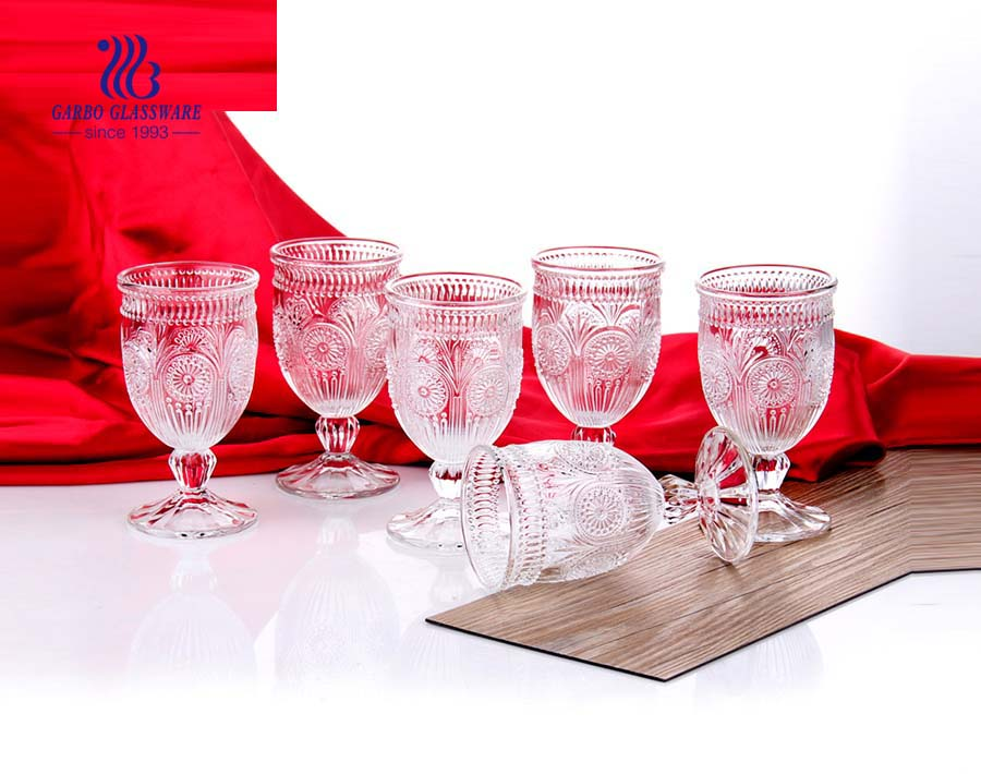 Martin Engraved Glass High Ball Goblets With Stem