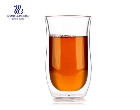 9OZ Recién llegado vaso de café de vidrio pyrex taza de doble pared