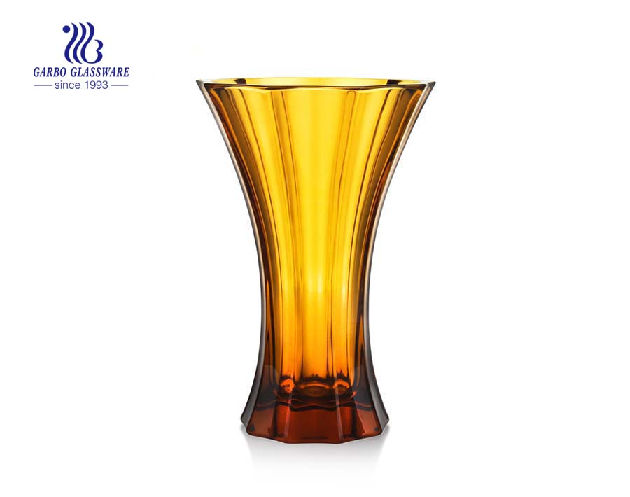 China factory hot sale big glass vase for decoration with amber color