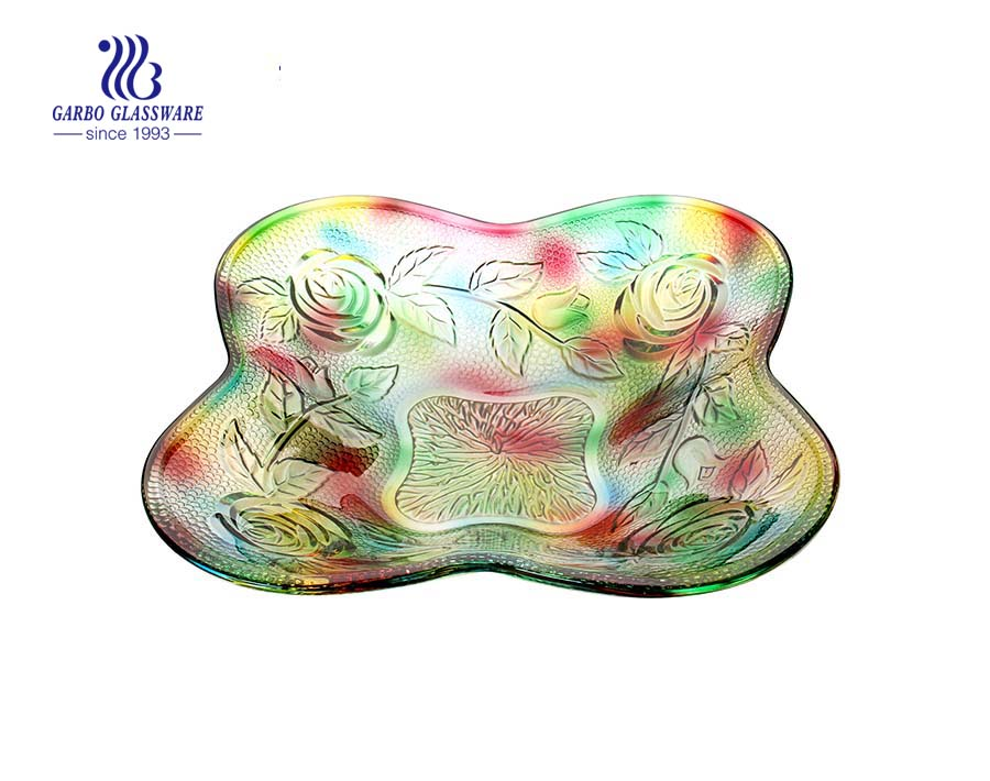 Colorful Glass fruit plate with rose engraved design