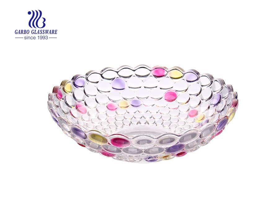 11.8'' Color Glass fruit bowl with dot design