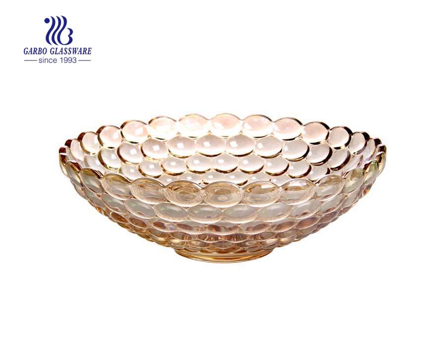 11.8'' Color Glass fruit bowl with dot design