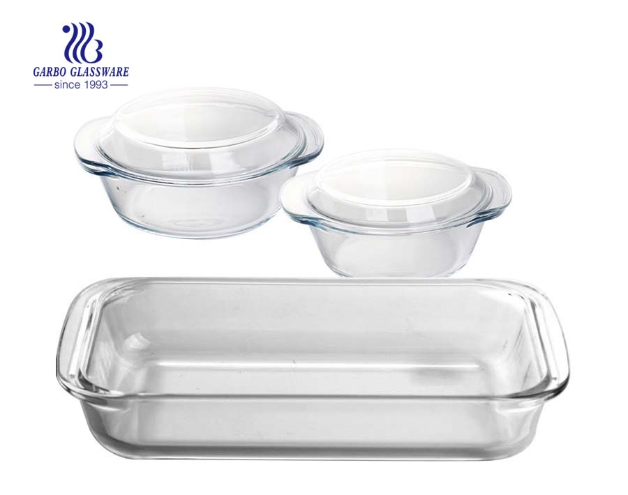 3PCS Glass baking glassware set glass soup bowl with dish