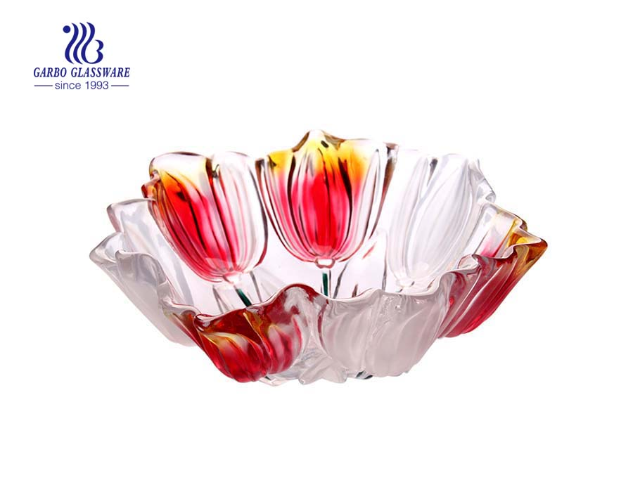 11'' Glass fruit bowl with red spray color