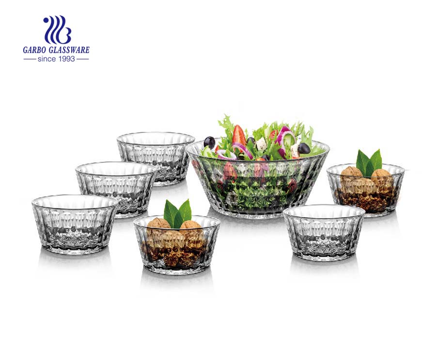 New design hot sale glass bowl set 7pcs for salad fruit nuts container