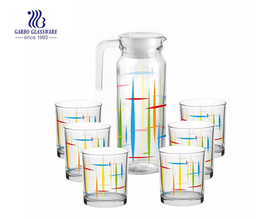 Beautiful design 7pcs glass drinking set glass pitcher and 6 cups