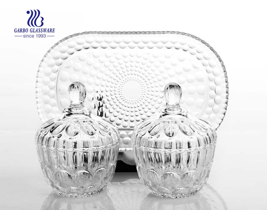 Hot sale decorative dot design 3pcs glass candy jar sets with plate