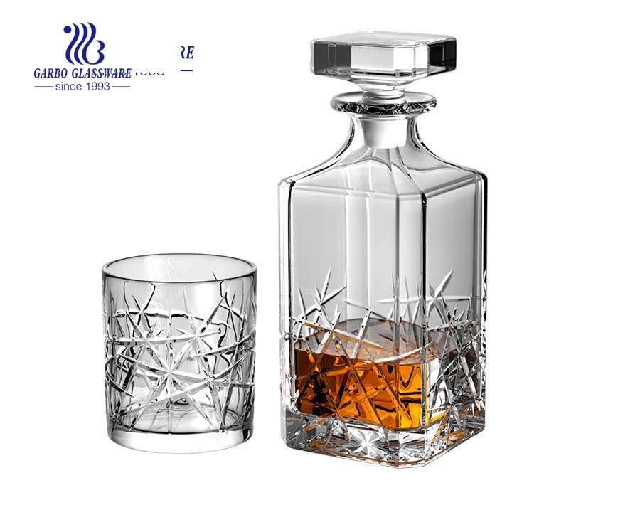 Wholesale square clear whiskey glass decanter