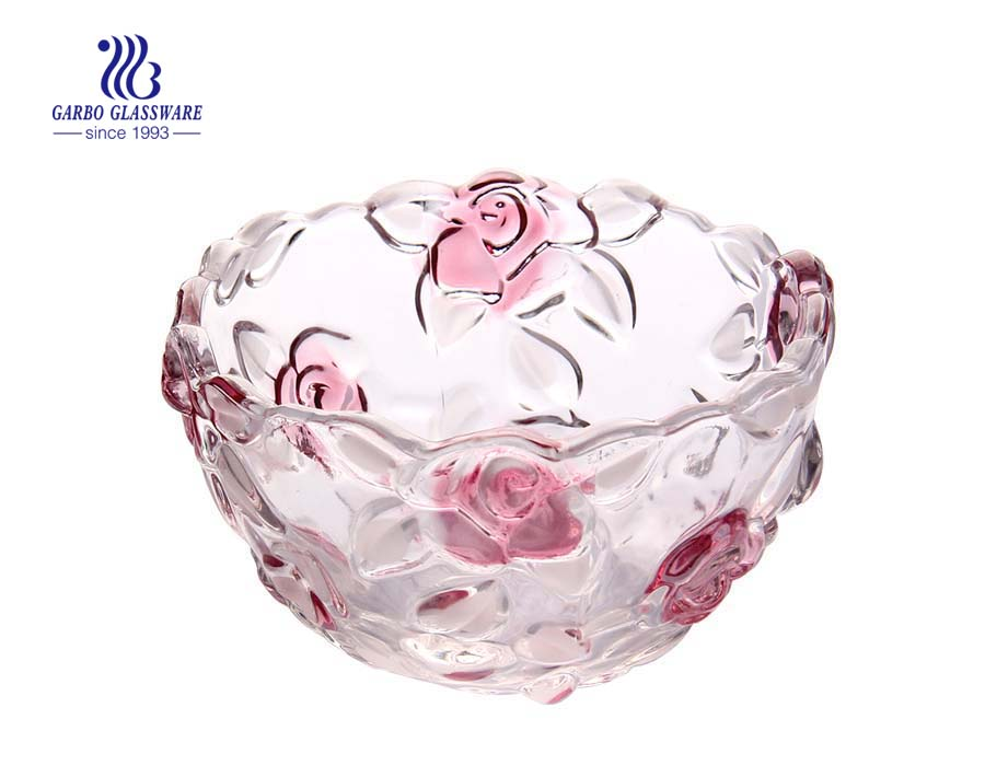 5'' Glass fruit bowl with rose design