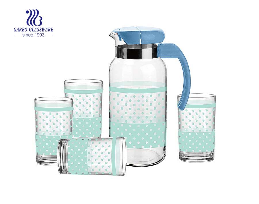 5pcs Glass Drinking Set Of 4 Glass Tunmber with 1 jar glassware household drinkware