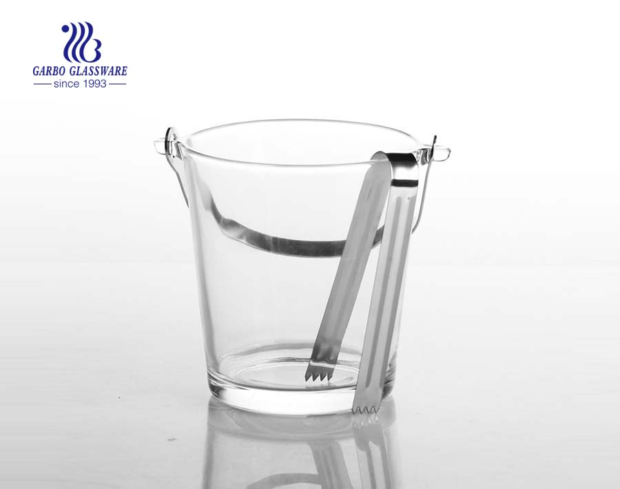 China high quality plain glass ice bucket