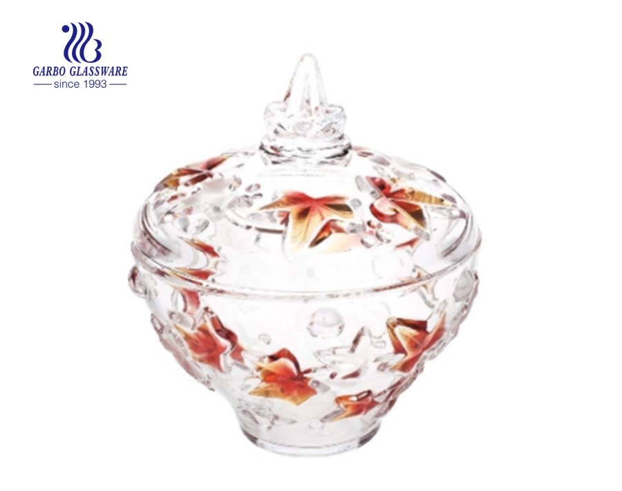 Leaf Pattern Engraved Glass Candy Pot