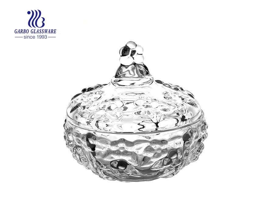 Sunflower Engraved Glass Candy Jar with Lid