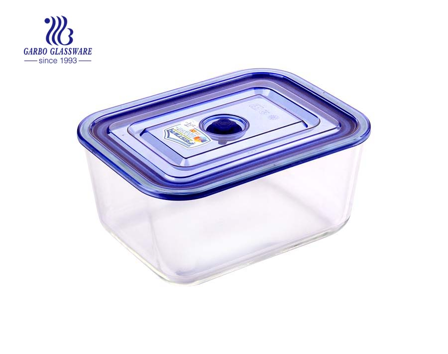 High borosilicate 1L rectangle glass lunch box with divider