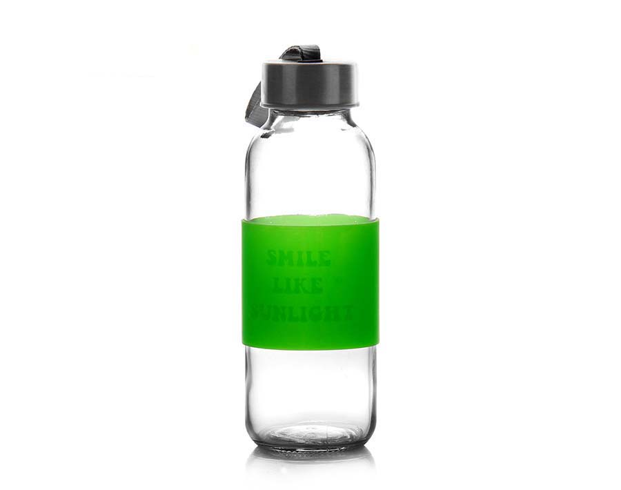 450ml transparent sport glass bottle