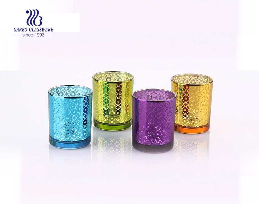China colored colored 4 piece glass candle holder set