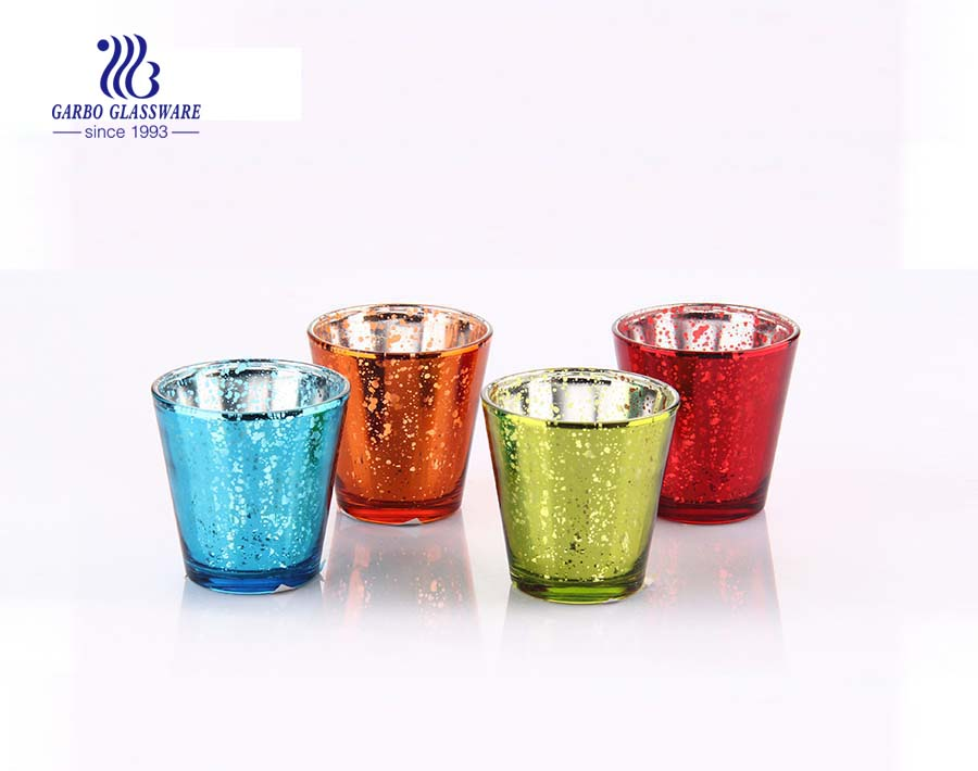 China candle tumblers colored colored 4 piece glass candle holder set
