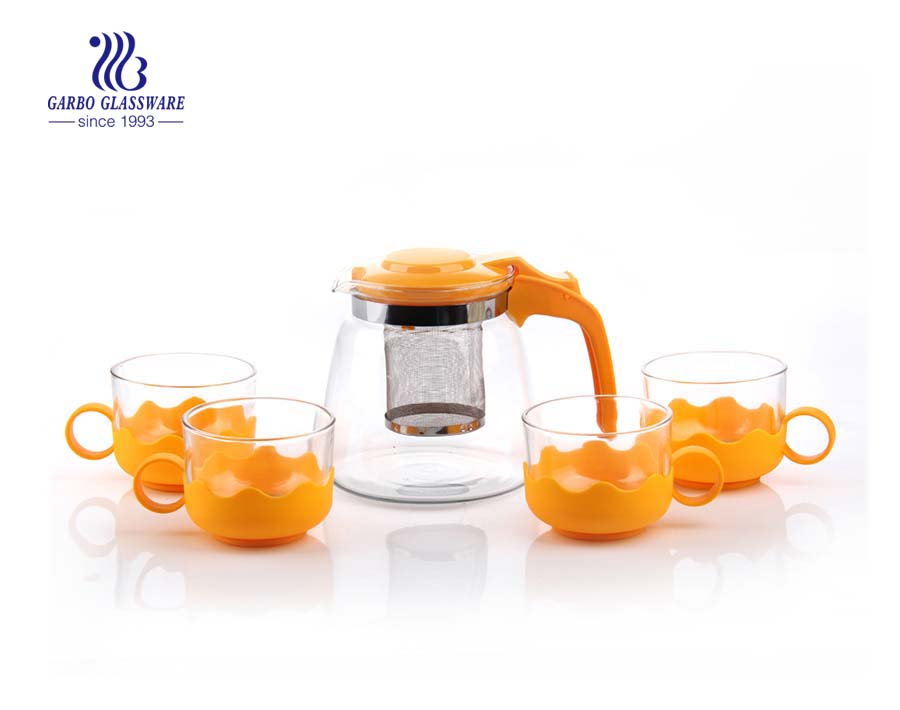 900ml Machine blown clear glass tea pot sets with printing for drinking