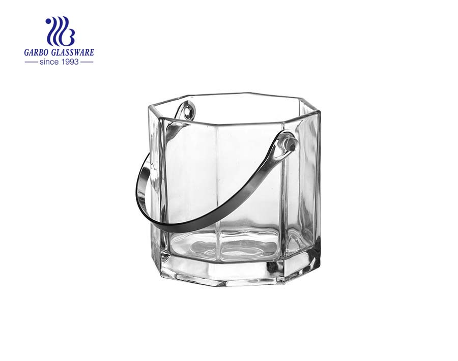 Buy China glass octagonal ice bucket with handle