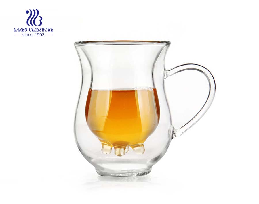 Heat-Resistant Double Glass Cup With Handle Double Wall Glass Milk Cup
