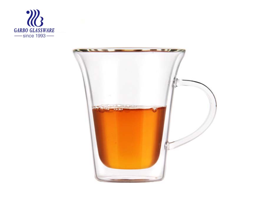 200ml For Juice Coffee Tea Cappuccino Cold Hot Drink Double Wall Cups Glass Mugs