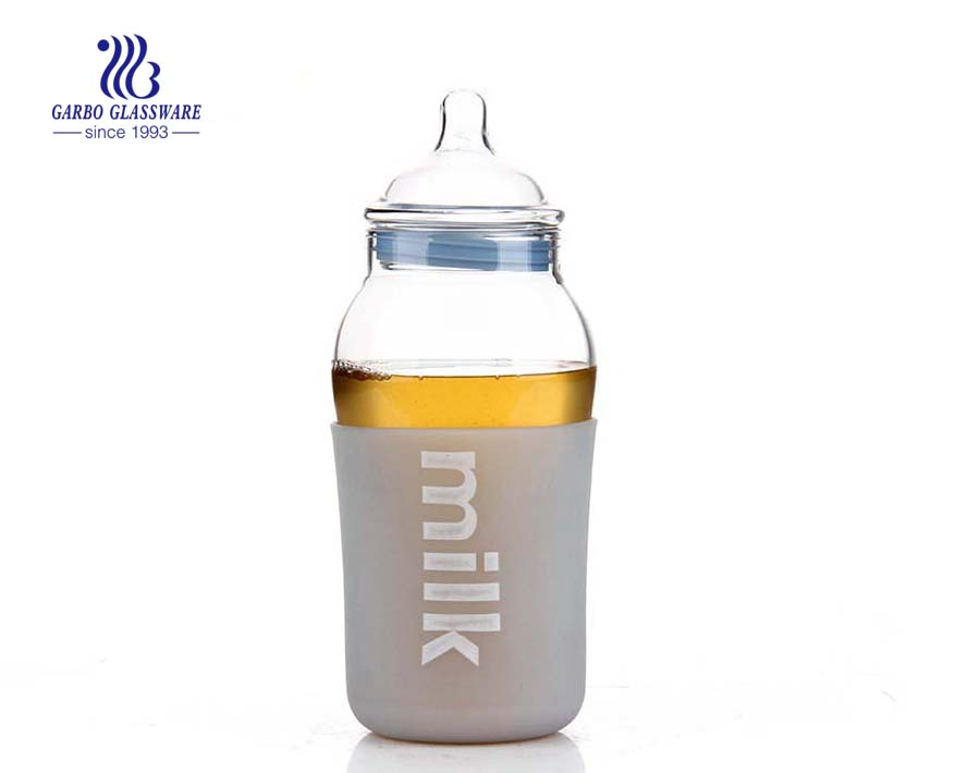 BPA free Silicone cover 14oz baby bottle pyrex glass baby feeding bottle