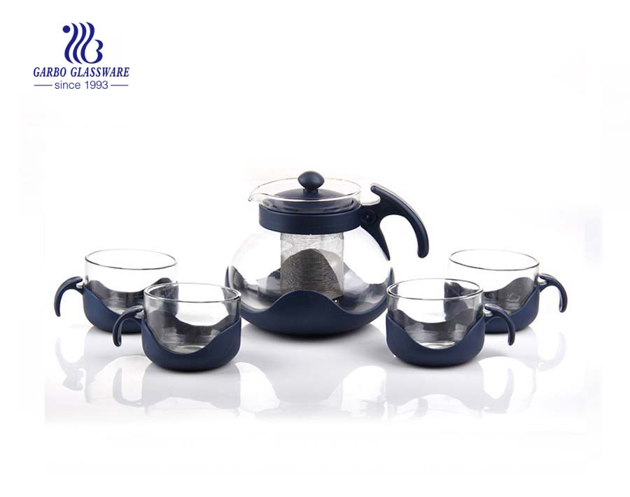 Hot sale 4pcs glass tea pot drinking set with removable steel infuser