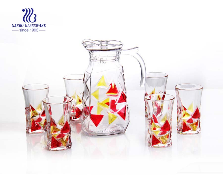 Wholesale Spray color clear glass pitcher drinking set pitcher with 6 cups