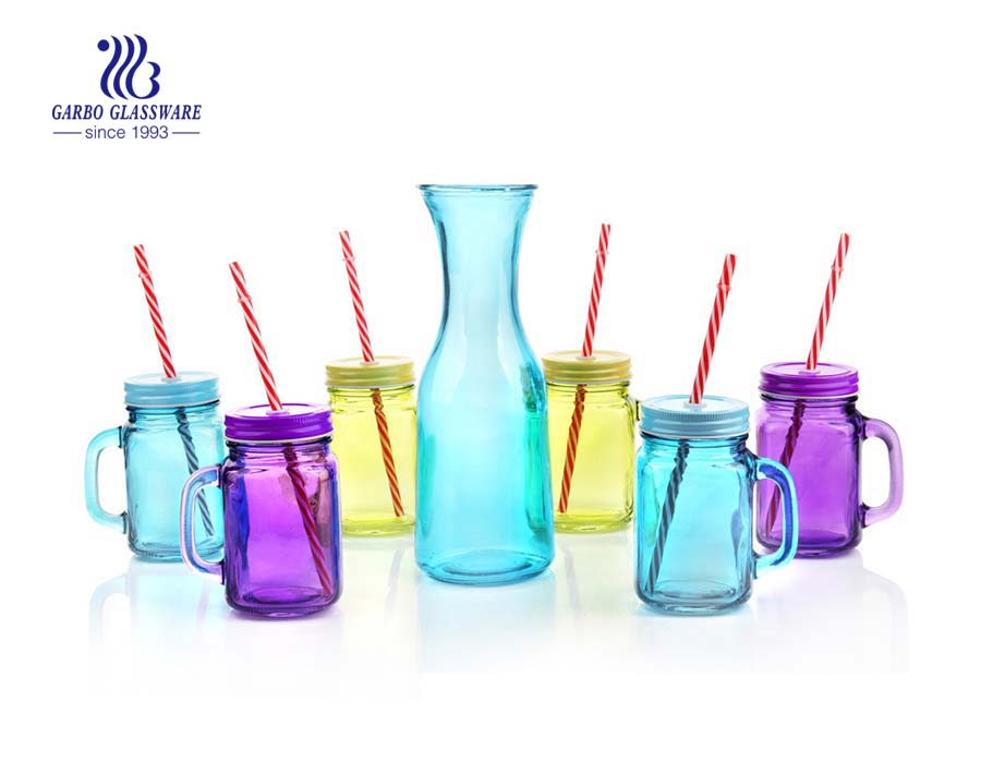 Venta caliente colorido 1L botella de leche de vidrio set de 6 frascos con estante de metal
