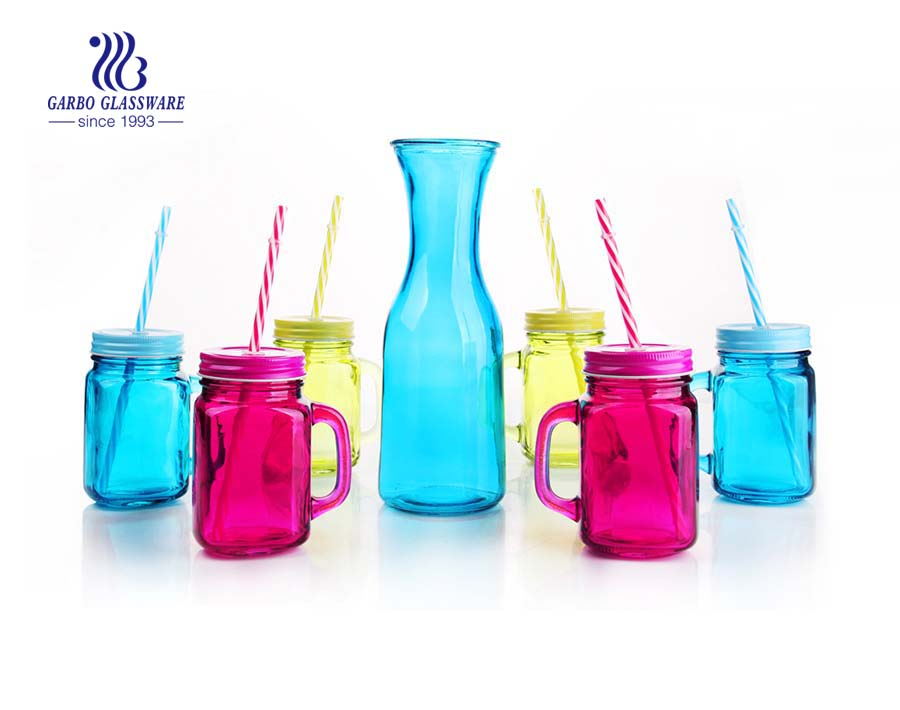 Hot sale colorful 1L glass milk bottle drinking set of 6 mason jar with metal rack