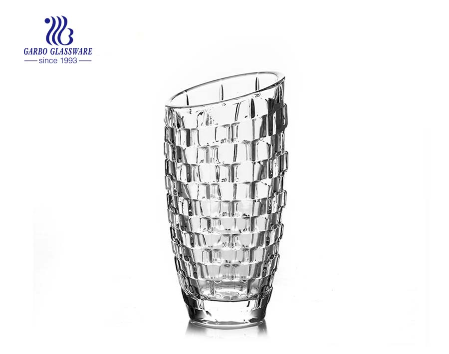 High white glass vase for table decoration