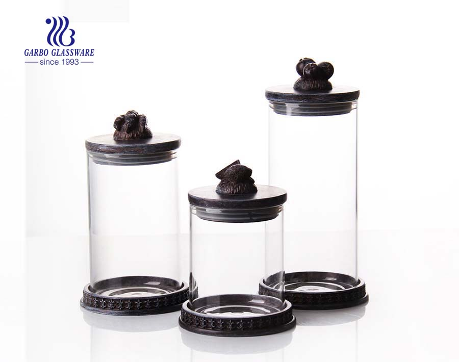 3 pcs set airtight glass candy  jar with lid