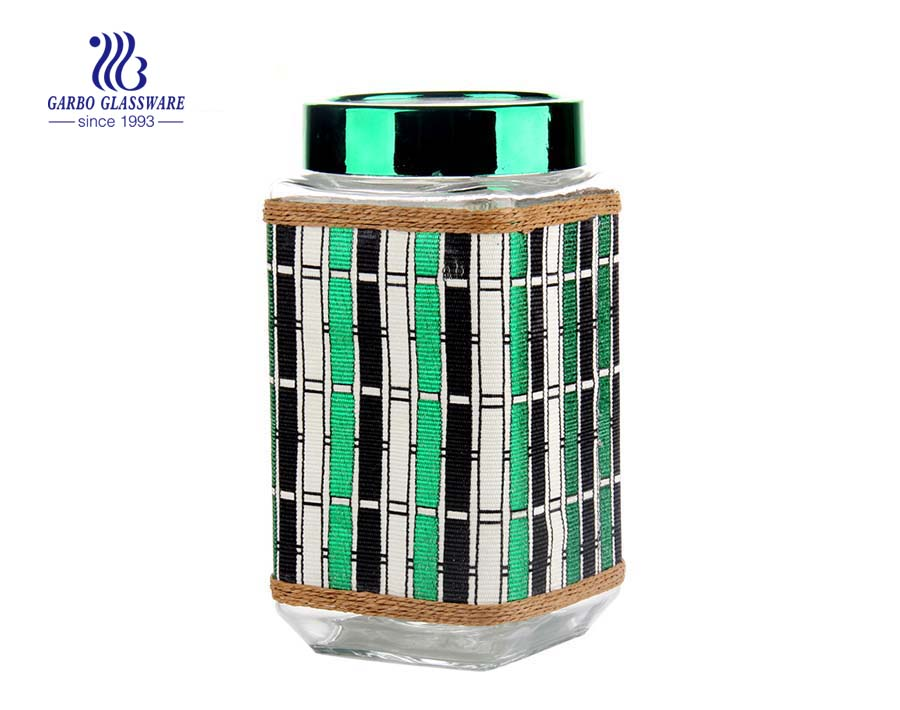 4 set decorative airtight glass jar with leather coating green color