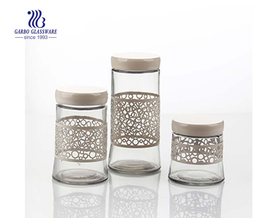 3 sets screw top glass storage jars with printing