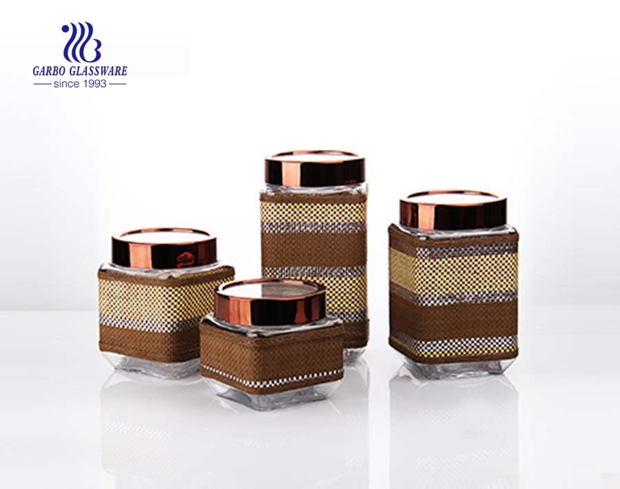 4 set square glass storage jars with black coating