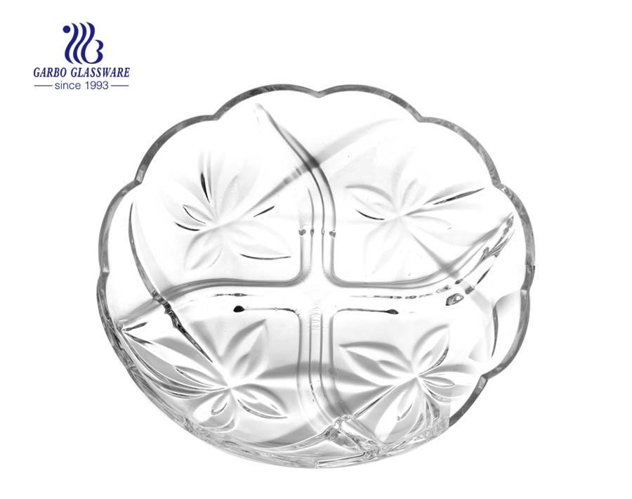 8.5 inch inexpensive clear glass dining plates made in CHINA