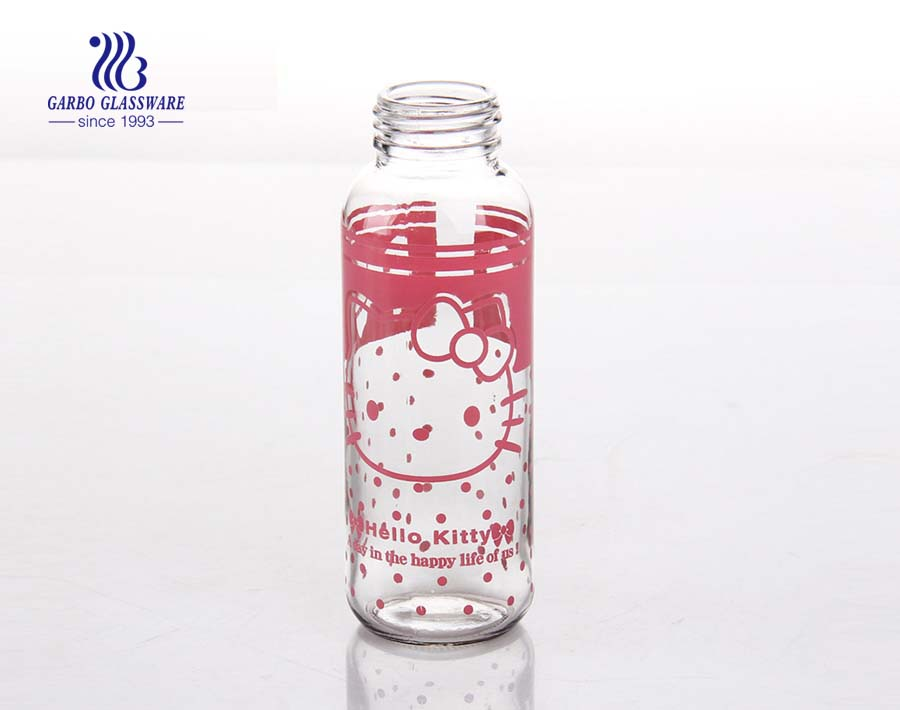 311ml Machine made glass water bottle with decals
