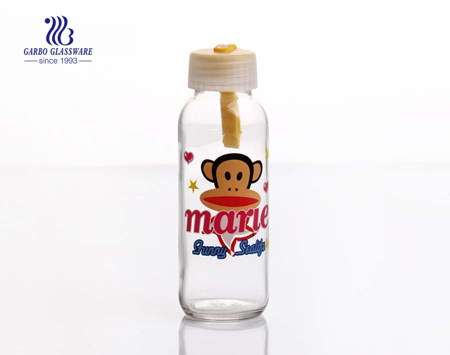 300ml Clear glass water bottle with decals