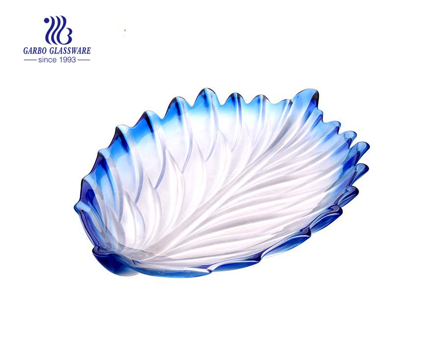 Glass fruit plate with leave shape design