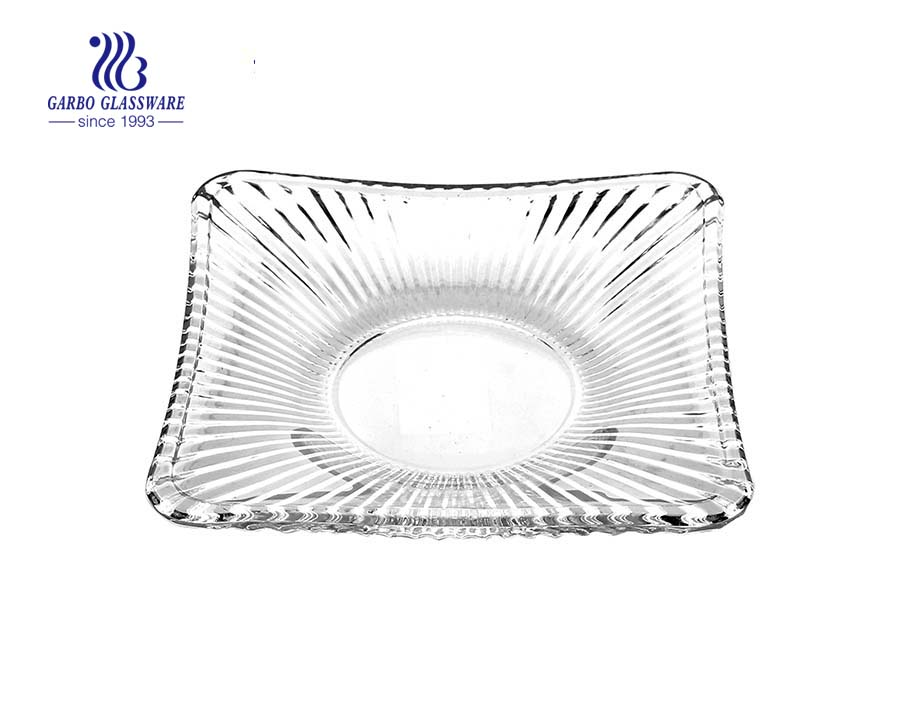 Glass fruit plate with square shape