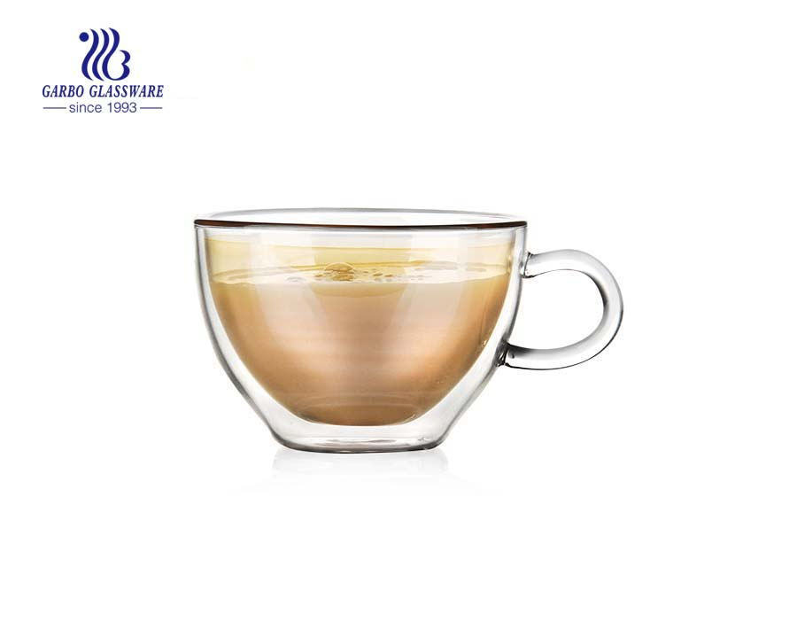 7OZ Heat resistant double wall espresso cup with handle