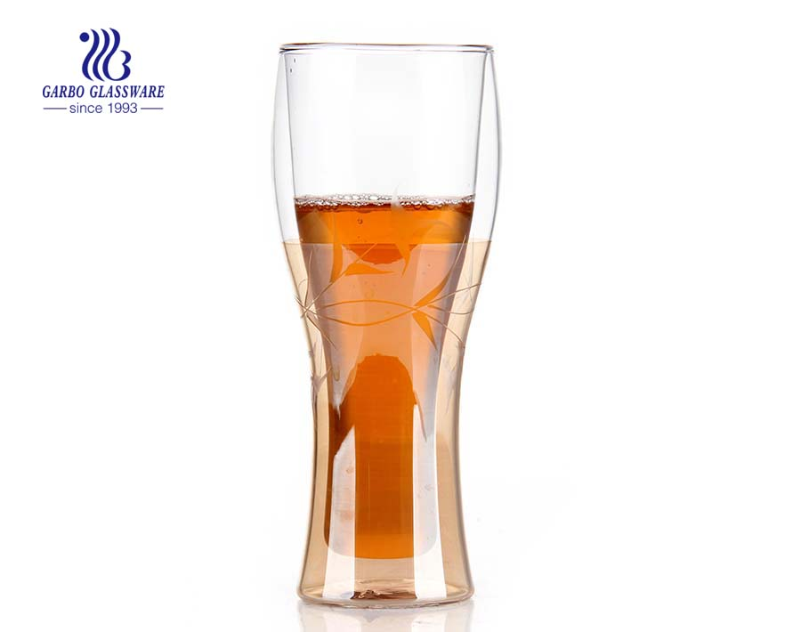 14oz Borosilicate drinkware double wall glass beer cup for wholesale