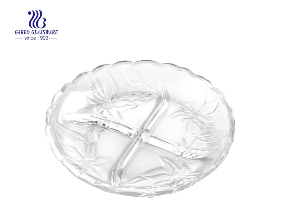 9 inch clear glass plates with beautiful flower designs