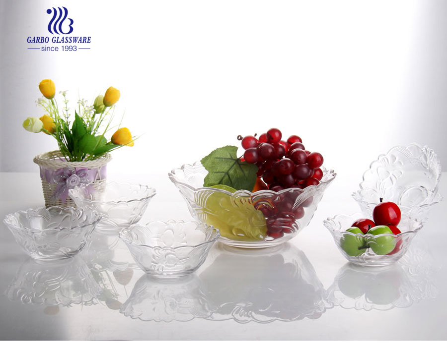 7pcs Cheap classic colorful serving dish glass fruit bowl set