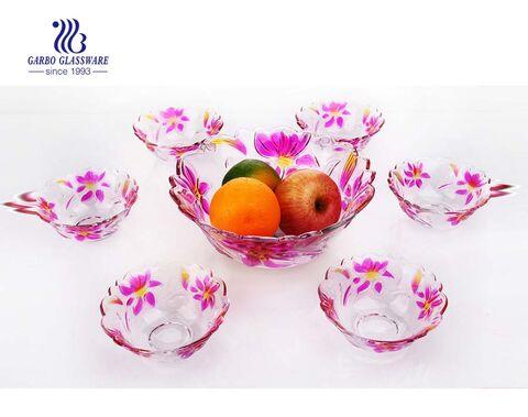 7pcs Cheap classic colorful serving dish glass fruit bowl set