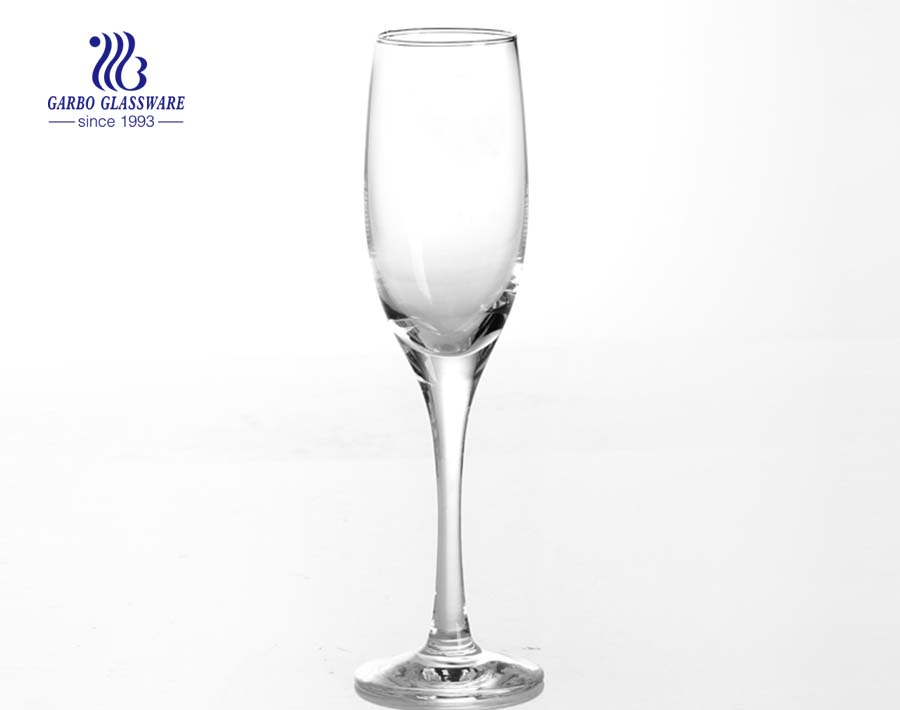 165ml tall thin China glass champagne flutes