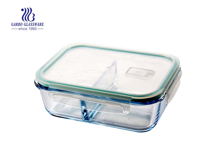 Pyrex 1.3L borosilicate glass food containers with divider
