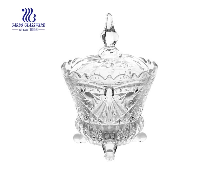 High Quality Footed  Glass Candy Pot